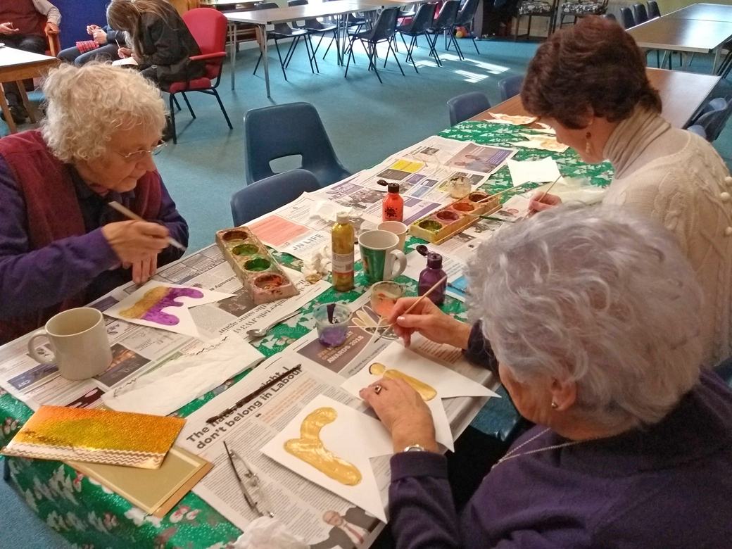 Art and Craft table - creating decorations for the forthcoming Purim celebration
